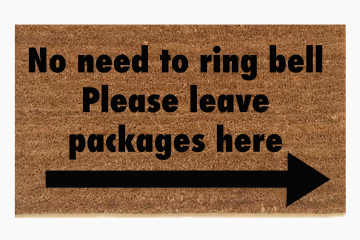 no need to ring bell please Leave packages here funny doormat amazon ups