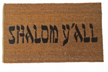 shalom y'all jewish novelty welcome doormat