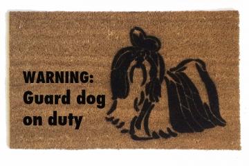 Shih Tzu Funny Warning: Guard dog on duty doormat