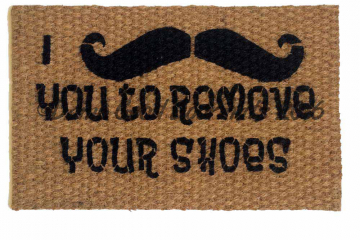 I mustache you to remove your shoes doormat