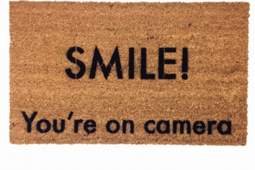 smile! You're on camera, funny security sign doormat