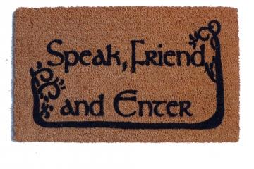 COMMAS JRR Tolkien Speak, Friend, and Enter with TREES nerd doormat