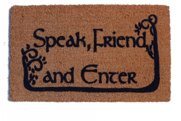 COMMAS JRR Tolkien Speak, Friend, and Enter with TREES nerd doormat