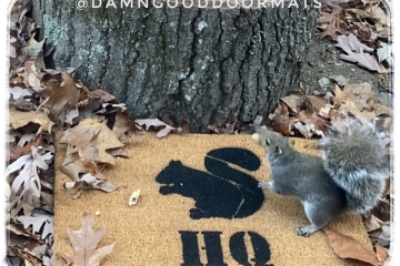 Squirrel doormat Ranch or Headquarters hand painted