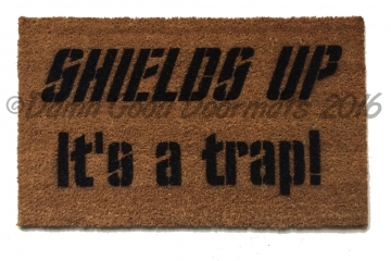 Shields up- it's a trap! Star Trek doormat NEW! Captain Kirk geek stuff