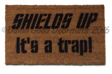 Shields up- it's a trap! Star Trek doormat NEW! Captain Kirk geek stuff