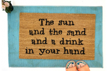 Sun sand drink in hand funny beach house doormat