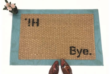 block letter hi bye welcome mat doormat