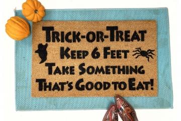 Trick or treat keep 6 feet funny halloween doormat covid 19 coronavirus