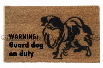 Japanese Chin funny WARNING: guard dog on duty doormat