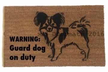 papillon warning guard dog on duty funny dog lover doormat