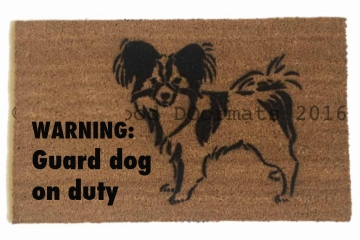 papillon warning guard dog on duty funny dog lover doormat