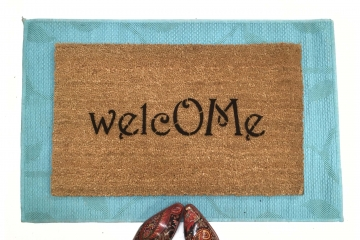 welcome om symbol mantra doormat
