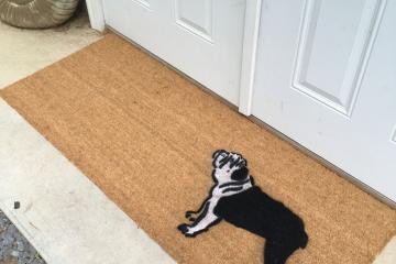 double wide english bulldog dog pet portrait doormat