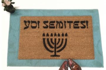 Yo! Semites!™ Jewish welcome doormat menorah