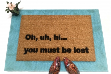 Uh hi, you must be lost funny, rude doormat, welcome mat, housewarming gift, ski