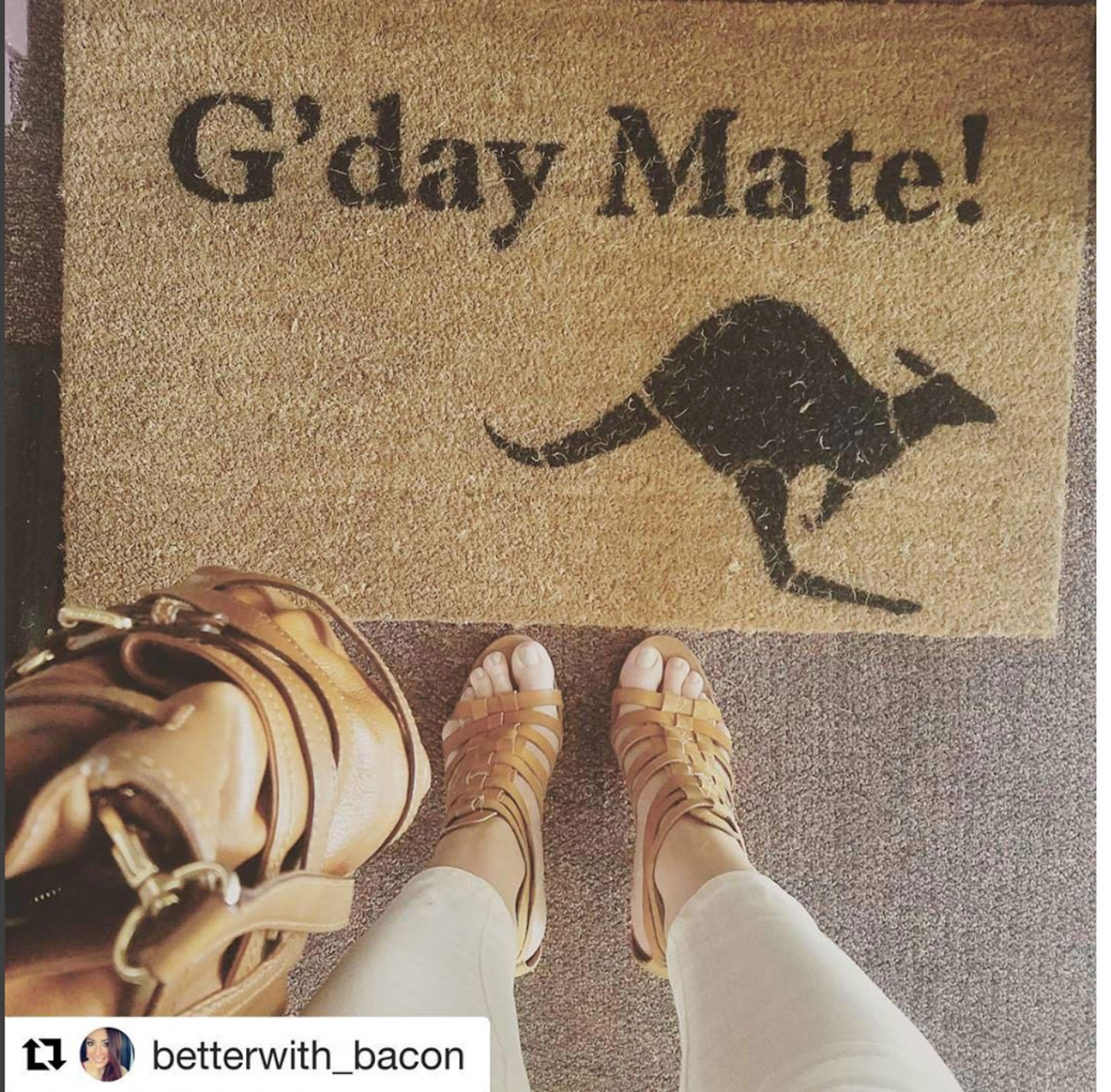 G Day Mate Kangaroo Australian Aussie Doormat By Damn Good
