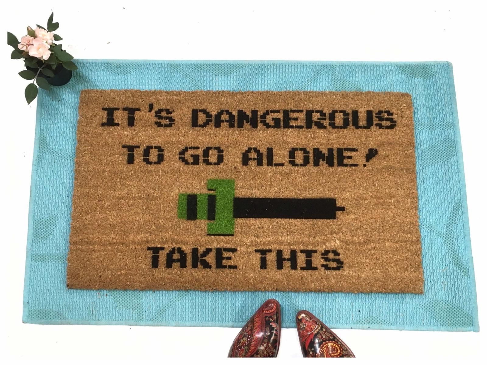 It S Dangerous To Go Alone Take This Nerd House Doormat Zelda