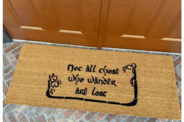 Doublewide XL JRR Tolkien nerd doormat Not all those who wander are lost with TREES