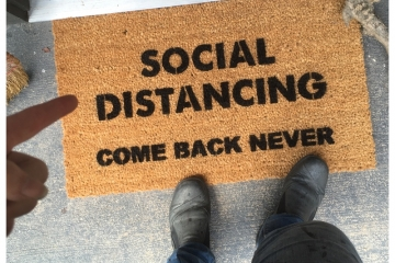 SOCIAL DISTANCING-  Come Back Never™ go away doormat