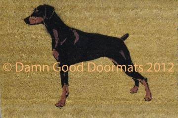 XL Mini Pinscher Hand Painted doormat - oversize mat- Zwergpinscher, Min Pin, miniature doberman