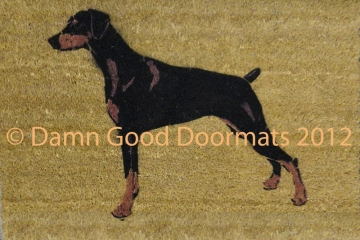 XL Mini Pinscher Hand Painted doormat - oversize mat- Zwergpinscher, Min Pin, miniature doberman