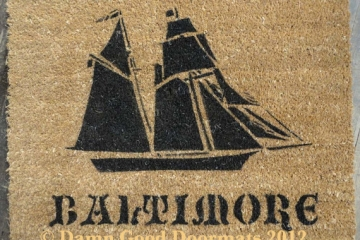 Pirate ship doormat- The Pride of Baltimore- Hand Painted door mat