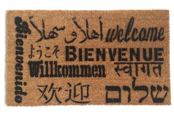 Welcome in all languages multi lingual doormat
