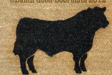 Custom Farm Black Angus Bull doormat
