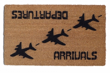Arrivals Departures funny aviation doormat