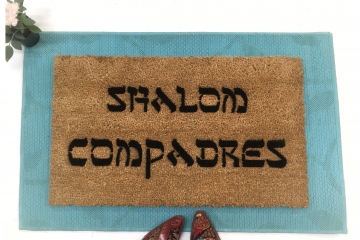 Shalom Compadres™ Jewish Spanish Lady Dynamite funny doormat