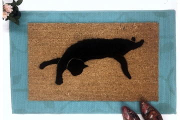 Black cat silhouette doormat Halloween