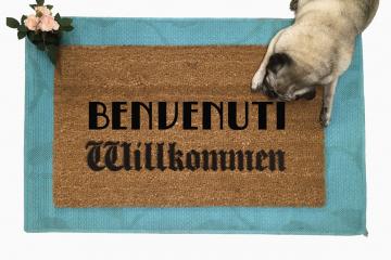 Benvenuti Willkommen Italian German doormat
