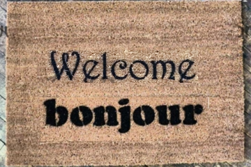 Bilingual English French bonjour doormat