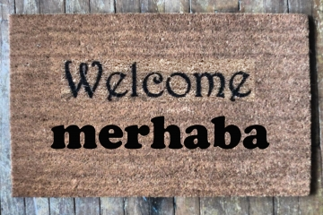 Bilingual English Turkish merhaba welcome mat