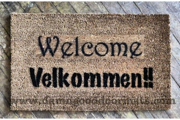Bilingual English Norwegian AND Danish  Velkommen doormat