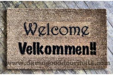 Bilingual English Norwegian AND Danish  Velkommen doormat