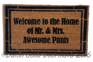 classy Welcome to the Home of Mr. & Mrs. Awesome Pants™ wedding gift