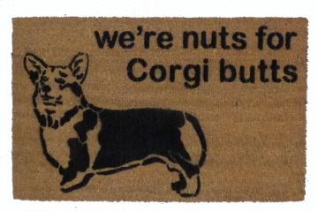 We're Nuts for Corgi butts, welsh corgi doormat