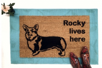 Custom Name welsh corgi doormat