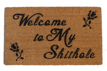 Crosstitch Welcome to MY SHITHOLE doormat