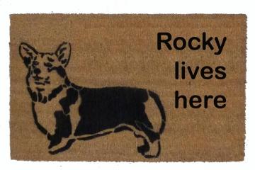 Custom Name welsh corgi doormat