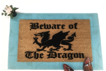 Beware of Dragons Medieval doormat