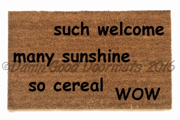 doge much welcome, many sunshine, so cereal,wow, meme funny doormat