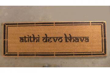 XL Hindu atithi devo bhava Guests are God Welcome Yoga mat