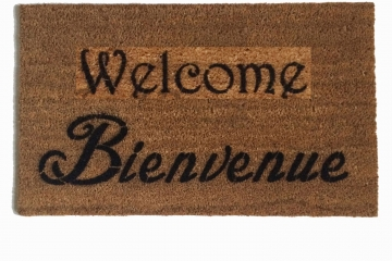 English and French Bienvenue doormat