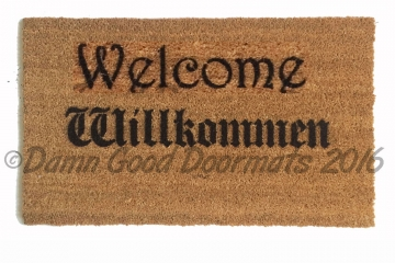 English and German bi-lingual Willkommen doormat