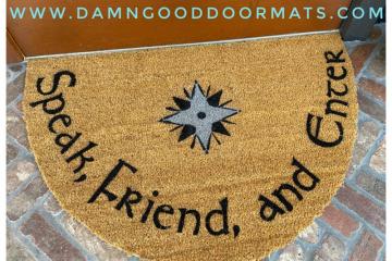 Half Moon LARGE JRR Tolkien Speak Friend and enter doormat