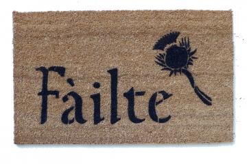 Scottish Fáilte and thistle or Irish Harp doormat