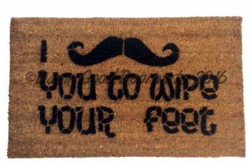 I mustache you to wipe your feet novelty funny doormat